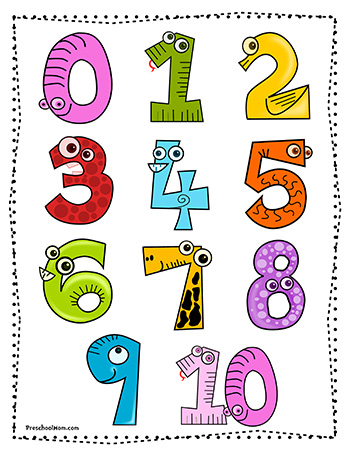 Number Names Worksheets preschool color chart : Free Printable Charts -