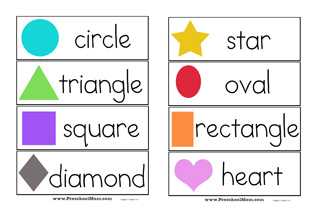 shape wordwall cards - Free Pre School Printables